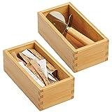 mDesign Juego de 2 organizadores de cajones para la cocina – Cajas organizadoras modulares para...