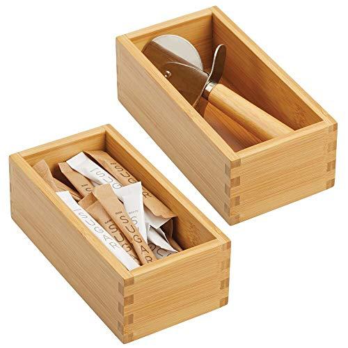 mDesign 2er-Set Schubladeneinsatz für die Küche – modulare Schubladenbox für Küchenaccesoires und mehr – Organizer aus Bambus für die Schublade – hellbraun