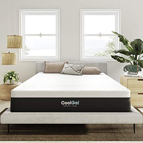 Classic Brands Cool Gel Ventilated Memory Foam 12-Inch Mattress/CertiPUR-US Certified/Bed-in-a-Box, Queen, White