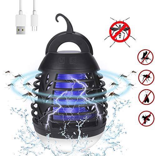 Zhousir Mosquito Lamp, Camping Lantern for Outdoor and Indoor Hangable Camping Lantern 2 in 1 Electric Lamp Waterproof Rechargeable (Black)