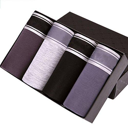 Heren Ondergoed Ademend Ijs Zijde Boxer U Convex Pouch Panties Heren Gift Box (4 Pack)