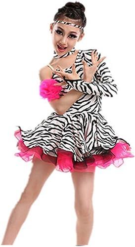 DCL Costume de Danse Latine Costumes Enfants Danse Latine bordées de Jupe de Danse Danse Latine Robe défilé Printemps été