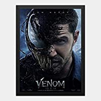 ハンギングペインティング - ヴェノム VENOM スパイダーマン マーベルのポスター 黒フォトフレーム、ファッション絵画、壁飾り、家族壁画装飾 サイズ:33x45cm(額縁を送る)