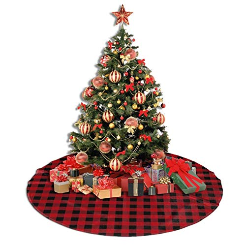 COWDIY Christmas Tree Skirt, Red and Black Plaid Buffalo Red Tree Skirt Mat Rustic Xmas Tree Skirt for Xmas New Year Holiday Party Home Ornaments (30')
