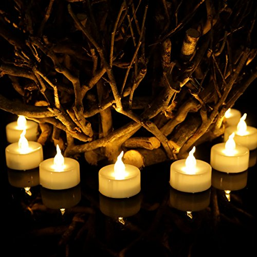 Amzbeauty 12pcs Tea Light Electronic Battery Candles Flameless Warm White Round Fake Led Flickering Candle For HalloweenCraft Project Luminary Bag for Diwalli