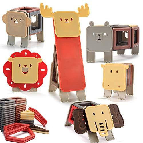 nicknack Magnetische Bausteine, 82PCS Kinder 3D Tier Magnetics Baustein Spielzeug Geschenk für Jungen Mädchen Kinder Alter 3 4 5 6 Jahre alt - große Größe