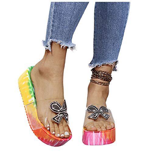 Aniywn Women's Platform Slide Sandals Summer Casual Slip On Heel Flats Slippers Boho Print Outdoor Slipper Shoes Black