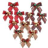 Longsing Navidad Moños y Cintas, Bowknot de Navidad con Campanas Bowknot Decoración Colgante Xmas Bowknot Ornament Christmas Tree Decor (12 Pack)