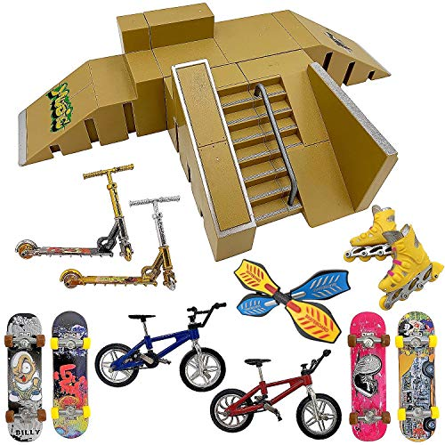 Finger Skateboard Ramp Set – Finger Skateboard – Finger Skatepark Kit 16 Pieces – Skate Park Kit Including Skateboards, Ramps, Scooters, Skates, Bikes and Caster Boards – Fingerboard Skate Set