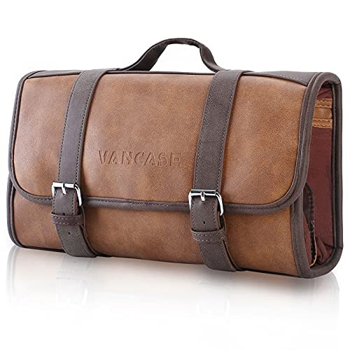 Hanging Toiletry Bag for Men VANCASE Leather Bathroom and Shower Organizer Travel Makeup Accessories kit/Great Gift