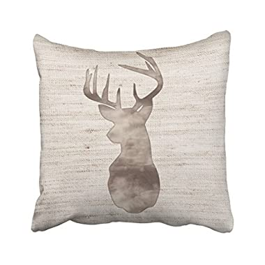 Shorping Zippered Pillow Covers Pillowcases 18X18 Inch rustic watercolor deer head on burlap Decorative Throw Pillow Cover ,Pillow Cases Cushion Cover for Home Sofa Bedding