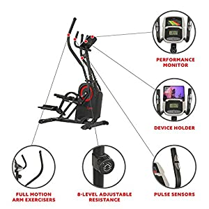 Sunny Health & Fitness Premium Cardio Climber Stepping Elliptical Machine - SF-E3919, Black