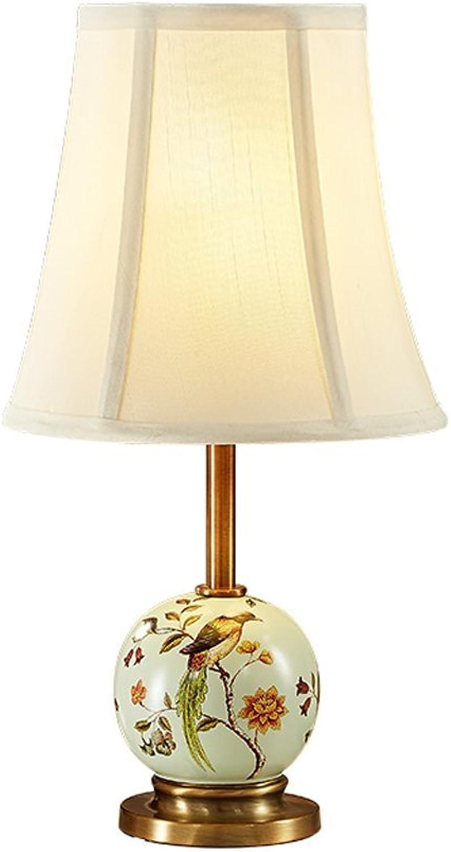 LILY American Style Keramik Tischlampe - Tischlampe Wohnzimmer Schlafzimmer Studie Pastoral (Farbe   B)