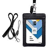 Wisdompro, porta badge a 2 lati in PU cartellino porta badge con tracolla/laccetto da coll...