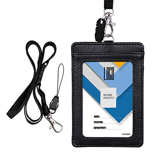 Badge Holder, Wisdompro School Supply 2-Sided PU Leather College ID Badge Card Holder Wallet Case with 1 Clear ID Window and 1 Credit Card Slot and 22 Inch Detachable Neck Lanyard - Black (Vertical)