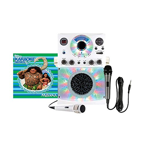 Singing Machine Karaoke System with Bluetooth, Sound and Disco Light Show (White) and Dynamic Microphone with 10 Ft. Cord with Disney Karaoke Series: Moana