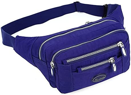 TOP UP Women s Solid Color Fanny Pack Nylon Waist Bag 5 Zippered Compartments Tour Lumbar Pack product image