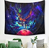 Macofcust Psychedelic Rick Morty Tapestry Moon Star Wall, Mtr1, Size 6040 inch