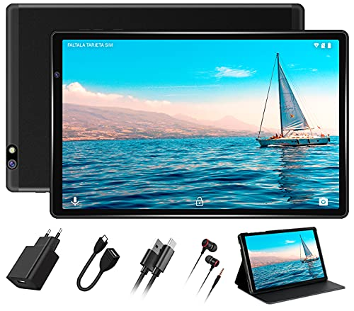 Tablet 10 Pulgadas FACETEL Android 10.0 Tablet 4GB RAM+64GB ROM (TF 128GB) Octa Core,Tablets 5.0+8.0 MP HD la Cámara, Certificación Google GMS,1280 * 800 Full HD Display | Bluetooth | WiFi | -Negro