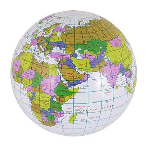 Islander Fashions Inflable Blow Up Globe 40 cm Atlas World Map Earth Ni�os Educaci�n Infantil Paquete de Juguetes de 1 Talla �nica