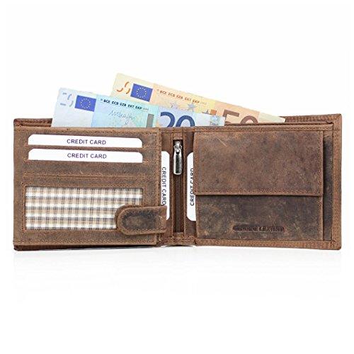 ALMADIH ® Premium Leder Portemonnaie mit RFID Schutz querformat 15 Kartenfächer in Geschenkbox P2Q BV Rinsleder Herren Damen Börse Unisex Geldbörse Geldbeutel Portmonee Brieftasche (P2Q Braun Vintage)