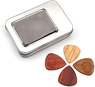 JJmooer Hierro Pick Box Holder Colector con 4 piezas de diferentes picos de madera