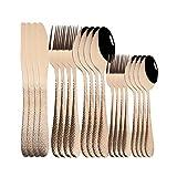 Mirror Oro Cubiertos Set de cubiertos de acero inoxidable Cuchillos Cuñas Forks Spoons Cutlery Set Cocina Vajilla Vajilla Juego (Color : Rose)