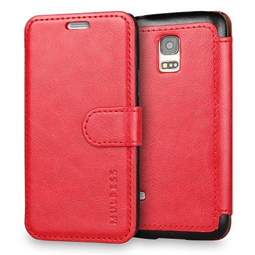 Mulbess Cover per Samsung Galaxy S5 Mini, Custodia Pelle con Magnetica per Samsung Galaxy S5 Mini Caso, Vino Rosso