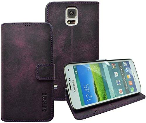 Book-Style Ledertasche Tasche für Samsung Galaxy S5 *ECHT LEDER* Handytasche Case Etui Hülle (Original Suncase) in antik - lila