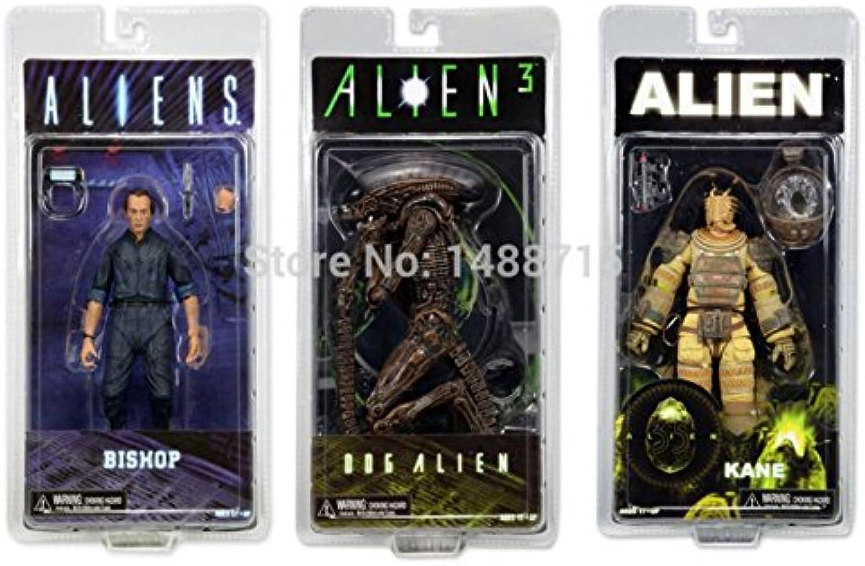 Mall Market 3pcs Classic Sci-fi Movie Aliens Series 3 Dog Alien + Kane Space Suit + Bishop 7  NECA Action Figure Toys Original Box