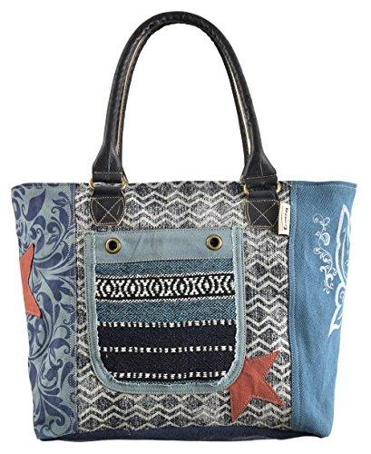 Sunsa Handtasche Damen Tasche Shopper Schultertasche Tote große Handgelenktasche Henkeltasche Damentasche Canvastasche Weekender Retro Vintage mit Canvas Leder Umhängetasche Blaue Tragetasche