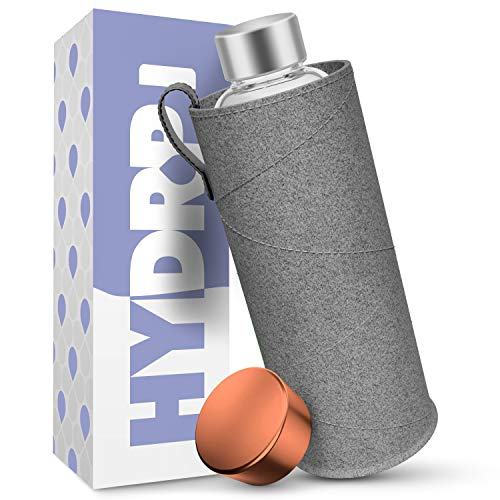 HYDROP® - Glasflasche 1 Liter mit Filzhülle [AUSLAUFSICHER] - Trinkflasche Glas 1l Kohlensäure geeignet und durchsichtig - Wasserflasche Glas 1l spülmaschinenfest - Glas Trinkflasche 1l Sport