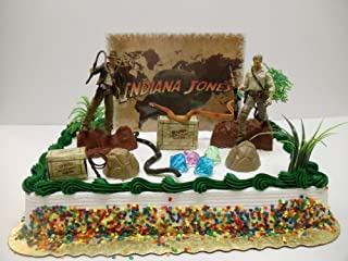 Indiana Jones Birthday Cake Topper Set Featuring Indiana Jones and Themed Decorative Pieces by Indiana Jones