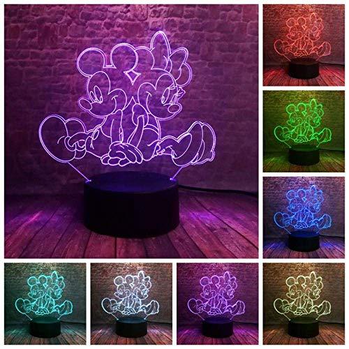 3D-Nachtlicht-Illusionslicht führte leuchtendes Mickey- und Minnie-Modell 3D-Illusions-Nachtlicht 7 Buntes Wechsellicht Mickey-Mouse-Anime-Figur Kinderspielzeug