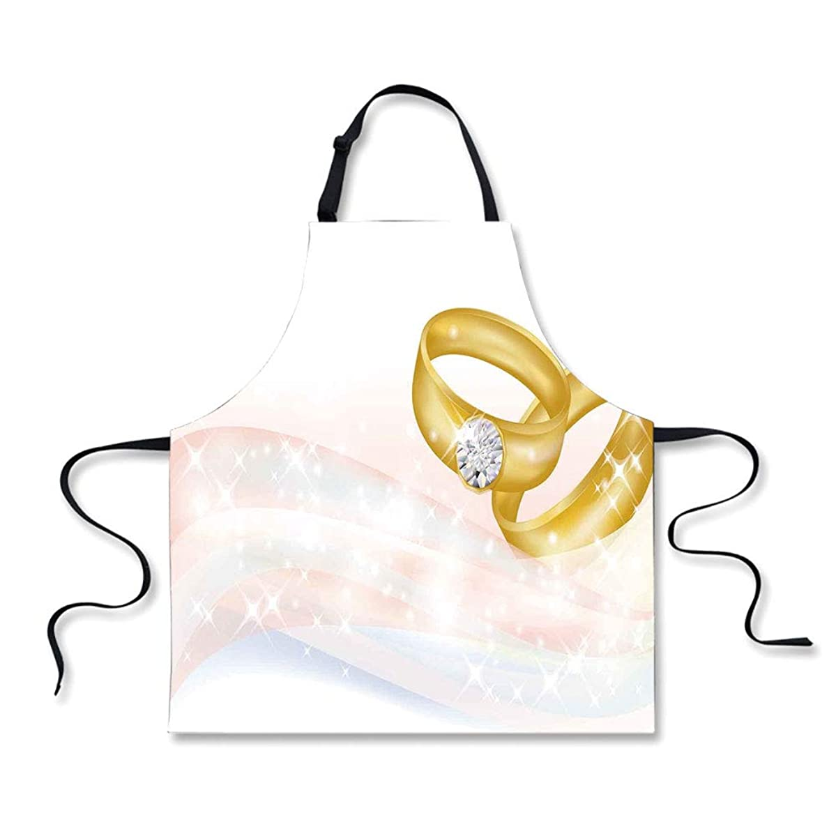iPrint BBQ Apron,Wedding,Wedding Rings on Abstract Backdrop Romance Marriage Engagement Print Decorative,Pale Pink Baby Blue Gold, Apron.29.5