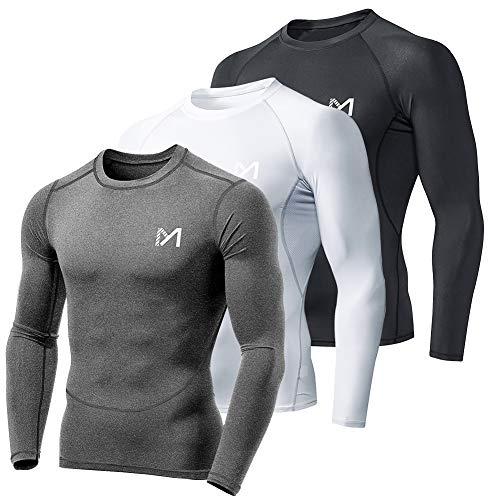 MEETYOO Camiseta Compresion Hombre, Ropa Deportiva Manga Larga Base Layers para Running Gym Ciclismo (Negro+Gris+Blanco, S)