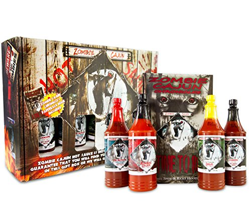 Zombie Cajun Hot Sauce Gift Set - 4 Full Size (6oz) Bottles of Traditional Creole Slow Cooked Louisiana Hot Sauces. It's Not About the Hot It's About the...