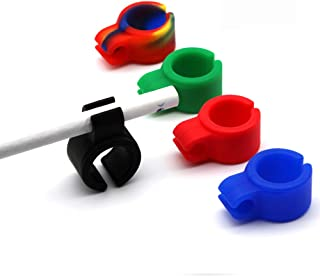 Cigarette Holder,WaterLuu Hands Free Cigarette Finger Ring Holder to Protect Your Finger Turn Yellow for Console Gamers, Musicians and Drivers,Soft Silicone Cigarette Holder for All Smokers (5pcs)