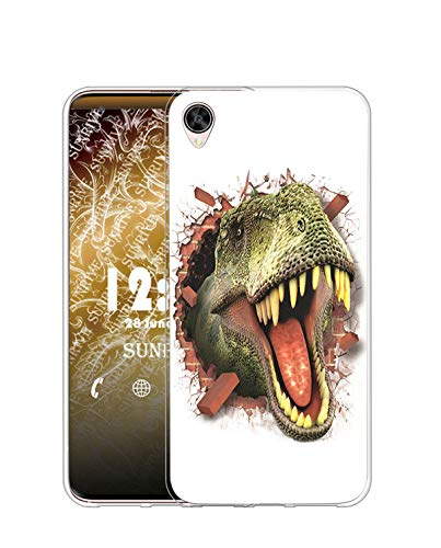 Sunrive Kompatibel mit Oppo R9 Plus Hülle Silikon, Transparent Handyhülle Schutzhülle Etui Hülle (TPU Tyrannosaurus)+Gratis Universal Eingabestift MEHRWEG