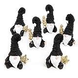 Logbuch-Verlag 6 Simpatici gnomi Elfi Statuette Decorazione Natalizia Nero Oro Glitter Bianco Natale Regalo Idea casa Moderna Feste Inverno