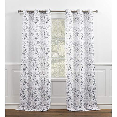 Chaps Fresh Meadow Botanical Print Textured Linen Look Grommet Top Curtain Panels, 38x84, Natural