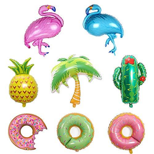 8 x Hawaii-Folienballons, Flamingos, Kaktus, Palmen, Aluminium-Luftballons, Donut, Helium, Ananas, Party, Fiesta-Dekoration