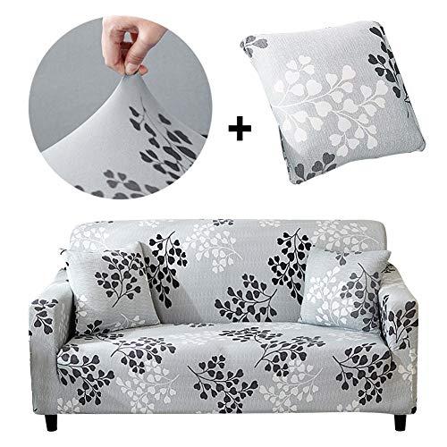 Bikuer Elastischer Sofabezug 2 Sitzer,Stretch Friheten Sofa-Überwürfe Mode Beliebt Klassisch Muster Spandex Sofabezug Für 1 Kostenloser Kissenbezug