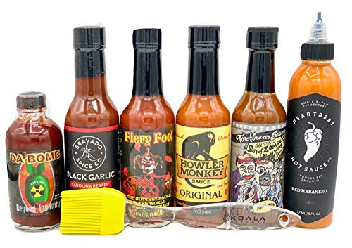 Hot Ones Hot Sauce Challenge Set - Season 6 - Da Bomb Beyond Insanity, Heartbeat Red Habanero, Torchbearer Son of Zombie, Howler Monkey, Hellfire Fiery Fool, Bravado Black Garlic Carolina Reaper
