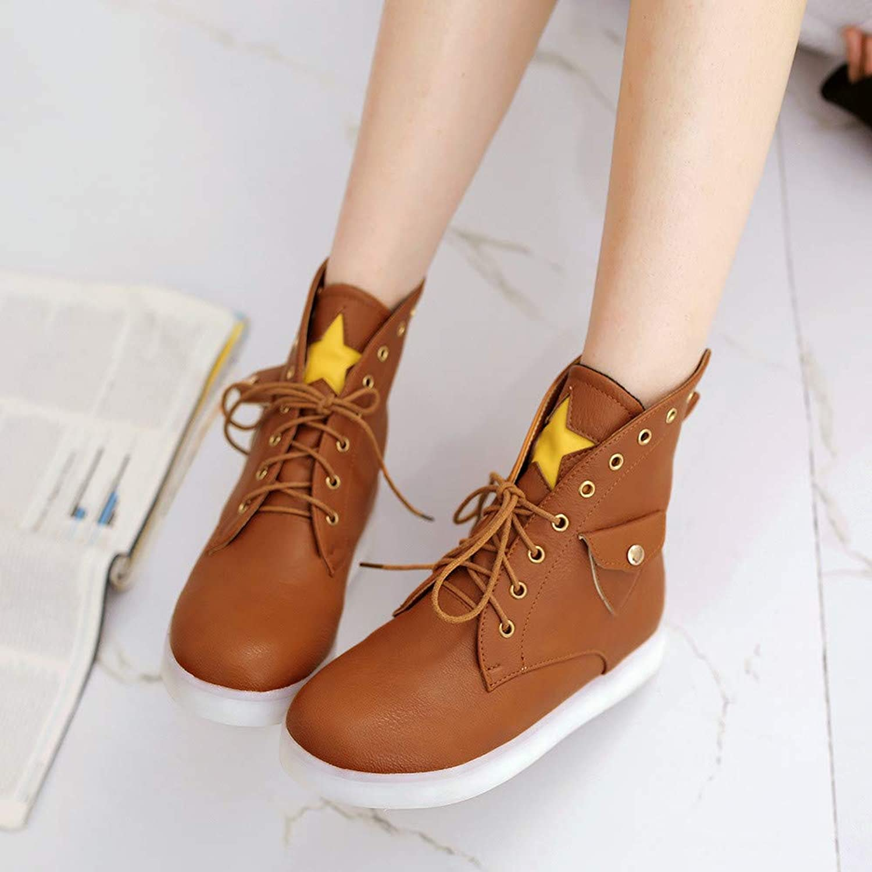 Wpew-Woherren Stiefel Gre Runden Kopf flach unten dick vielseitige Spitze Damen Schuhe