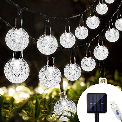 Lamantt Solar String Lights Warm White 7M 50 Solar Bulb Fairy Lights String Fairy Lights with 8 Lighting Modes Solar Fairy Lights for Indoor Outdoor Party Living Room Bedroom Garden