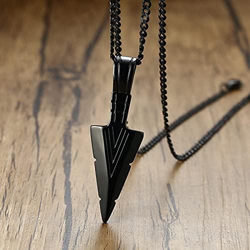 Astemdhj Halskette Männer Ketten Anhänger Klobige Lange Halsketten Für Männer Vintage Retro Edelstahl Speer Gothic Punk Anhänger Naturstein Perlen Standkette Pn-515B