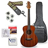 Antonio Giuliani Clearance Acoustic Mahogany Guitar Bundle - Mini Jumbo Short Scale (DN-2P) - Dreadnought Travel Guitar with Case, Strap, Tuner, Strings and Accessories By Kennedy Violins