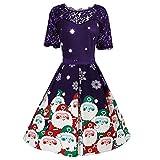 Celucke Vestido de Fiesta de Navidad de los años 50 con Estampado de Encaje, Vestido Vintage Hueco para Mujer