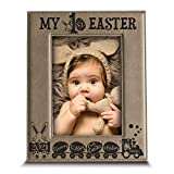 BELLA BUSTA- My First Easter -Bunny Kisses and Easter Wishes-Easter 2021-Easter Decorations- Engraved Leather Picture Frame (5 x 7 Vertical)